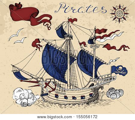 Engraved graphic illustration with old sailing ship, wind compass and vignette banner. Vintage pirate adventures, treasure hunt and old transportation concept