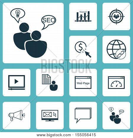 Set Of Marketing Icons On Seo Brainstorm, Newsletter And Website Topics. Editable Vector Illustratio