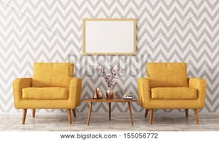Interior With Two Armchairs And Coffee Table 3D Rendering