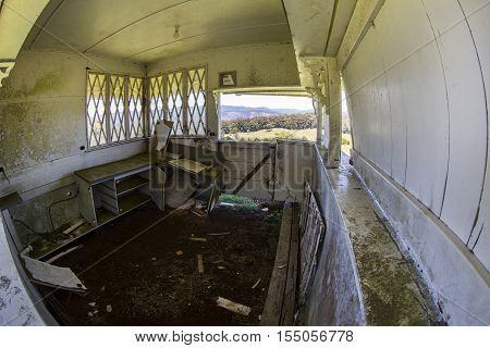 Inside old hut located on a hill on Lyrebird Ridge road in Springbrook