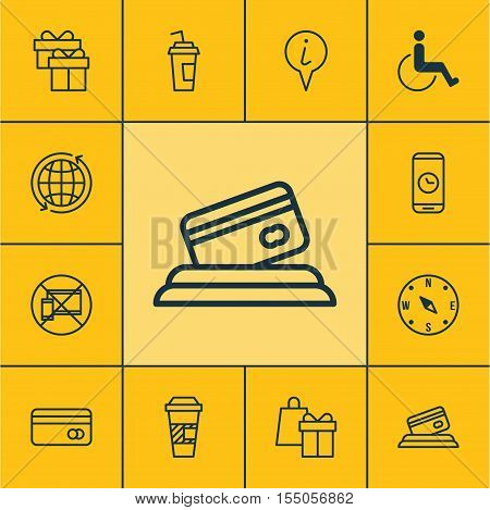 Set Of Traveling Icons On Plastic Card, Info Pointer And Accessibility Topics. Editable Vector Illus
