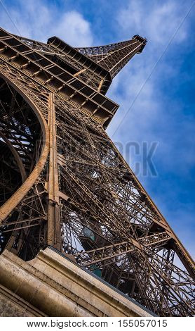 Vertical panoramic close-up of the Eiffel Tower. Champs de Mars, 7th Arrondissement, Paris, France