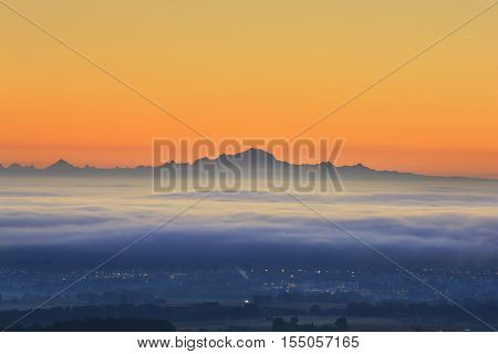 Sea Of Clouds And Mont Blanc Peak During Sunrise, Beaujolais Land, France