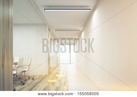 Front view of office corridor with large blank wall and row of conference rooms with wooden wall and floor decoration. 3d rendering. Mock up. Toned image
