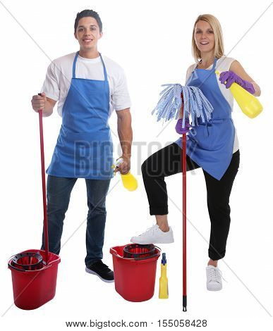 Cleaning Lady Person Service Cleaner Woman Man Job Occupation Full Body Portrait Young People Isolat