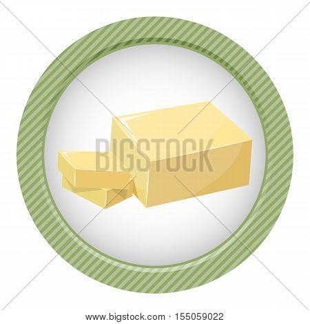 Sliced Margarine Block. Baking Ingredient Butter Stick.
