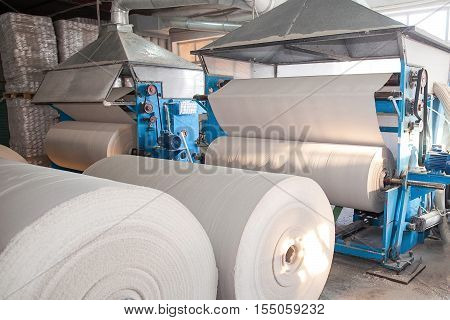 Paper production plant. Plant on production of paper towels. fragment of the industrial machine