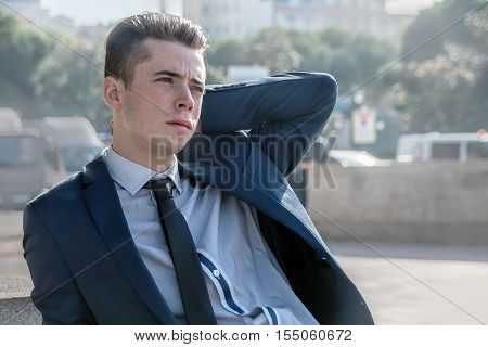Serious business man portrait in the city