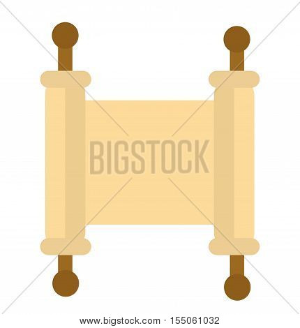 Torah icon. Scroll flat style. Scripture is isolated on a white background. Torah logo. Vector illustration