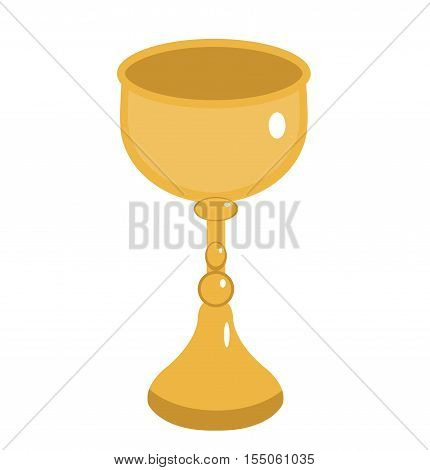 Golden goblet icon. Gold Cup flat style. Wine goblet isolated on white background. Chalice logo. Vector illustration