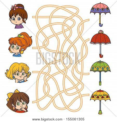 Maze game for children. Little girls and umbrellas