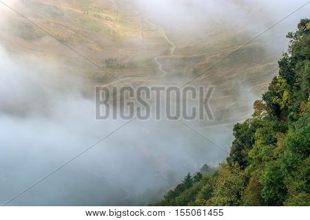 San Marino, Italy. TThe slope of the mountain, covered with trees, shrouded in mist. At the bottom of the valley is slightly visible.