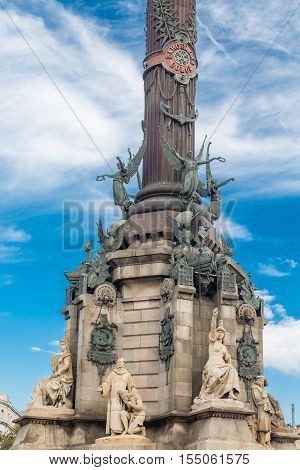 The statue of Columbus at the foot of La Rambla in Barcelona Spain