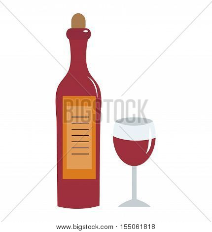 Wine bottle and wine glass icon. Bottle of red wine flat style glass of wine isolated on white background. Wine logo. Vector illustration