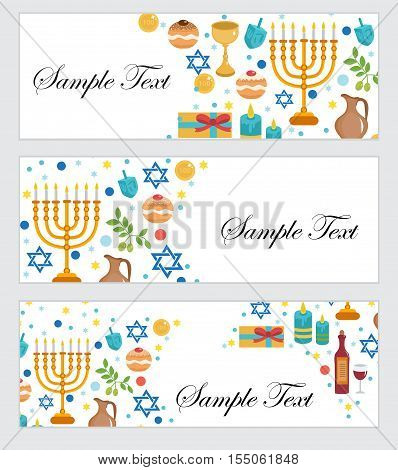 Happy Hanukkah banners set. Hanukkah Jewish Festival of Lights Feast of Dedication. Hanukkah set banners with space for text. Vector illustration