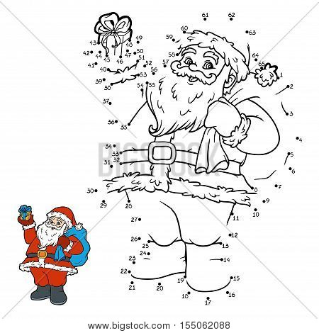 Numbers game, education dot to dot game for children, Santa Claus