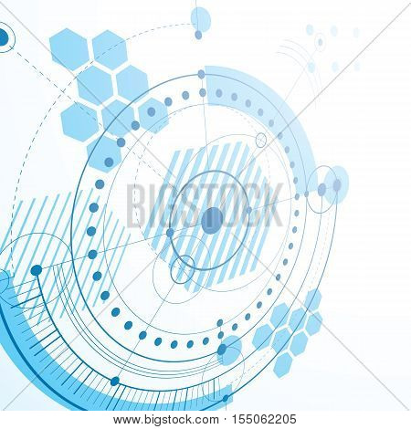 Geometric technology 3d vector drawing blue technical abstract scheme of engine or engineering mechanism.