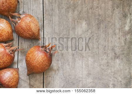 Common medlar fruit (mispel) on grey rustic wooden background. Top view with plenty of copy space