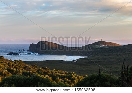 View overlooking the lighthouse on the South cape of Bruny Island Tasmania