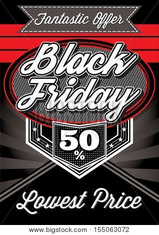 vector template of advertising retro poster for Black Friday discounts