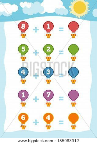 Counting Game for Preschool Children. Educational a mathematical game. Count the numbers in the picture and write the result. Addition worksheets with balloons