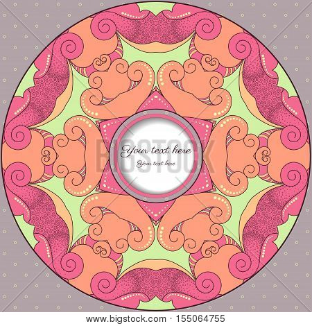 Card with round frame. Filigree lace pattern. Place for your text.