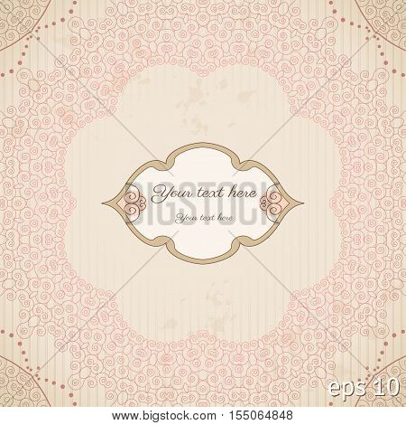 Vector vintage background. Filigree frame striped paper and blots. Place for your text. Brown and pink.