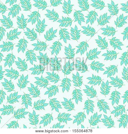 Seamless vector background with leaves. Printed cotton pattern.