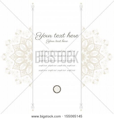 Vector card. Vintage round damask pattern. Place for your text. Easy to change colors.