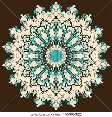 Abstract round lace pattern. Vintage damask pattern. Colors are easily editable.