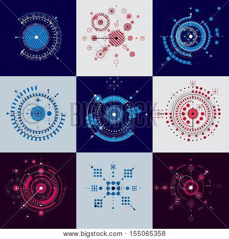 Set of modular Bauhaus vector backdrops created from geometric figures like circles and lines. Best for use as advertising poster or banner design. Abstract mechanical schemes.