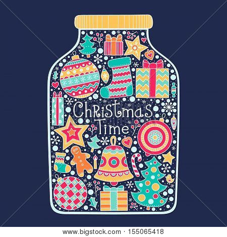 Christmas time! Vector hand drawn Christmas jar with doodle winter elements - balls gifts berries stars gingerbread christmas tree socks hearts snowflakes. Holiday design card.
