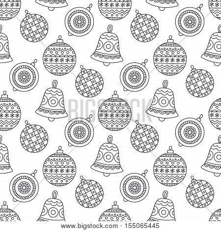 Christmas toys pattern. Vector seamless pattern with Christmas balls and bells. Hand drawn doodle background with winter holiday elements. Coloring page for anti stress coloring book.