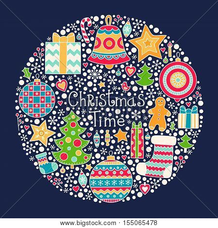 Christmas Time. Vector hand drawn winter element - christmas tree gingerbread man star sock berries snowflake ball bell. On dark background.