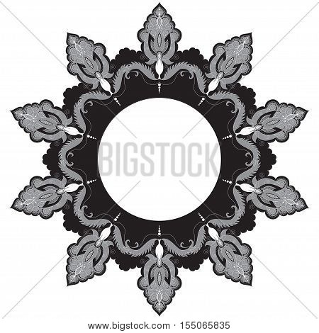 Round lace pattern with damask floral elements. Illustration in black white and gray colors.