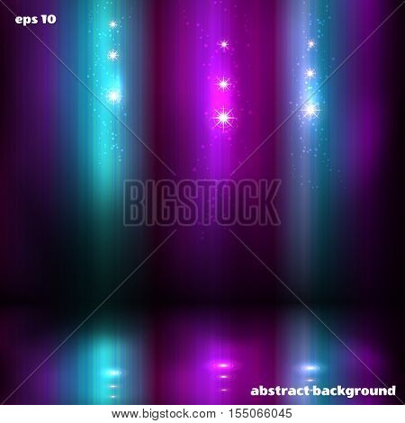 Abstract vector background. Northern lights and stars and reflection.