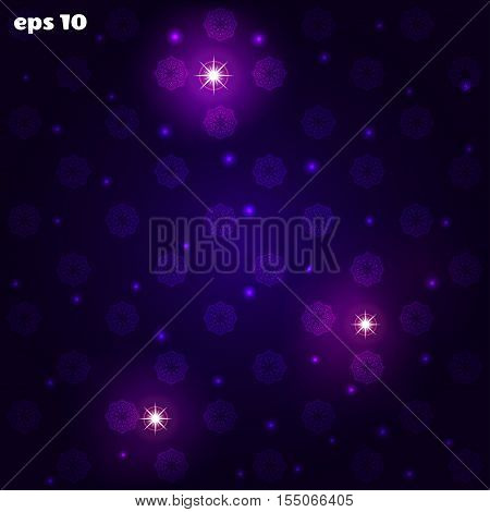 Abstract vector seamless background. Snowflakes sparks and stars.