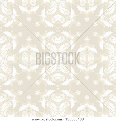 Seamless vector background. Vintage ornate damask pattern. Easily edit the colors.