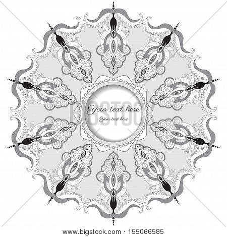 Round lace pattern with damask floral elements. Color easily changed. Frame for your text.