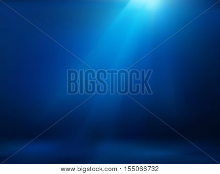 Hand drawn cartoon of sea landscape. Colourful cartoon of undersea. Cartoon background of underwater landscape. Background of empty blue underwater. Cartoon of rays of sunlight shining into sea.