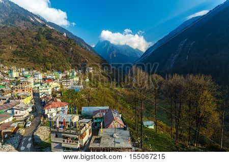View Of Lachane Village In Sikkim, India