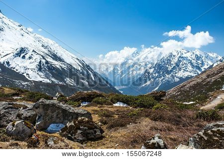 View Of Snow Moutain In Sikkim, India