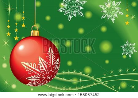 Christmas theme with red ball - background vector