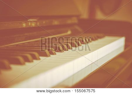 close-up piano keys. classical music - Stock Photo
