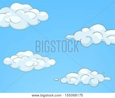 Hand drawn cartoon of sky landscape. Colourful cartoon of background of sky with clouds. Cartoon with blue sky and curly clouds. Blue sky background with white clouds. Background of cloudy sky.