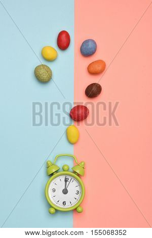 Green Alarm Clock With Colorful Dragee