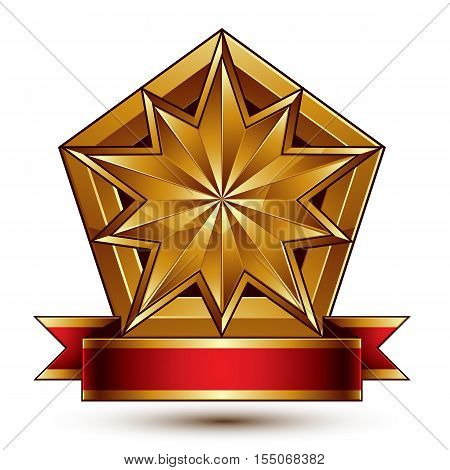 Vector glorious glossy design element luxury 3d polygonal golden star placed on a decorative blazon.