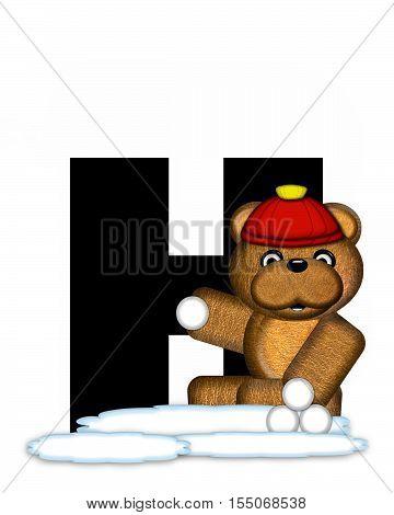 Alphabet Teddy Wintertime H