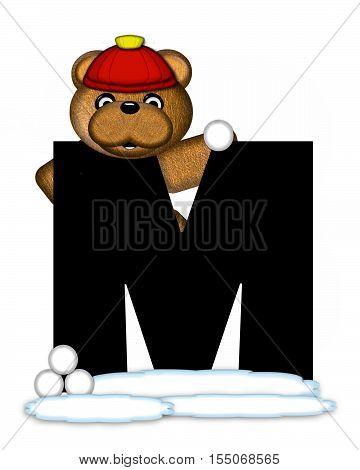 Alphabet Teddy Wintertime M