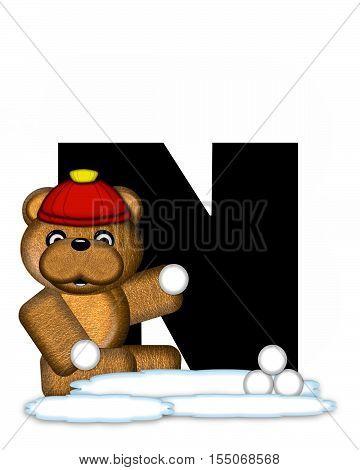 Alphabet Teddy Wintertime N